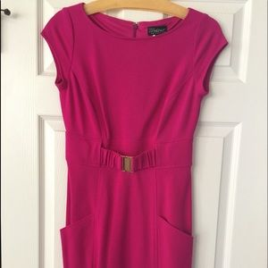 Cache Fuchsia Sheath  Cap Sleeves Dress Sz 6